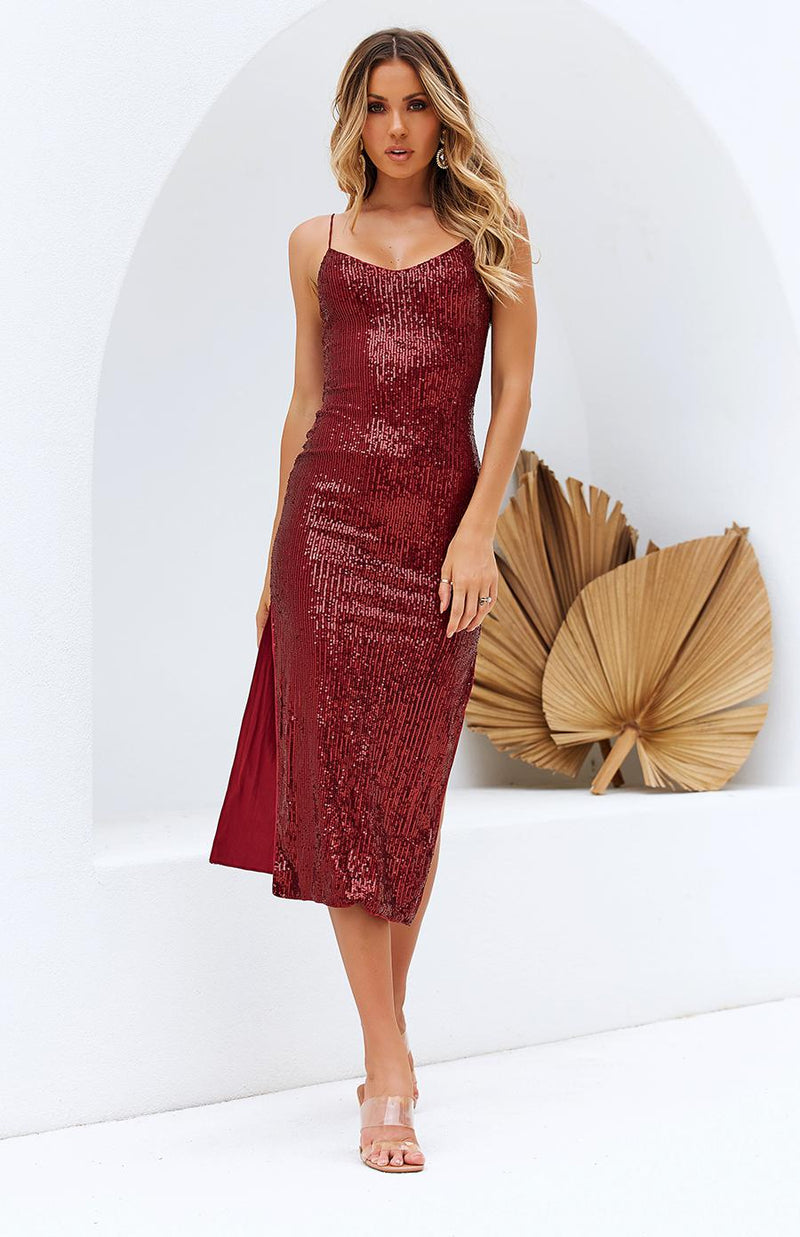 LINTEL DRESS - WINE SEQUIN