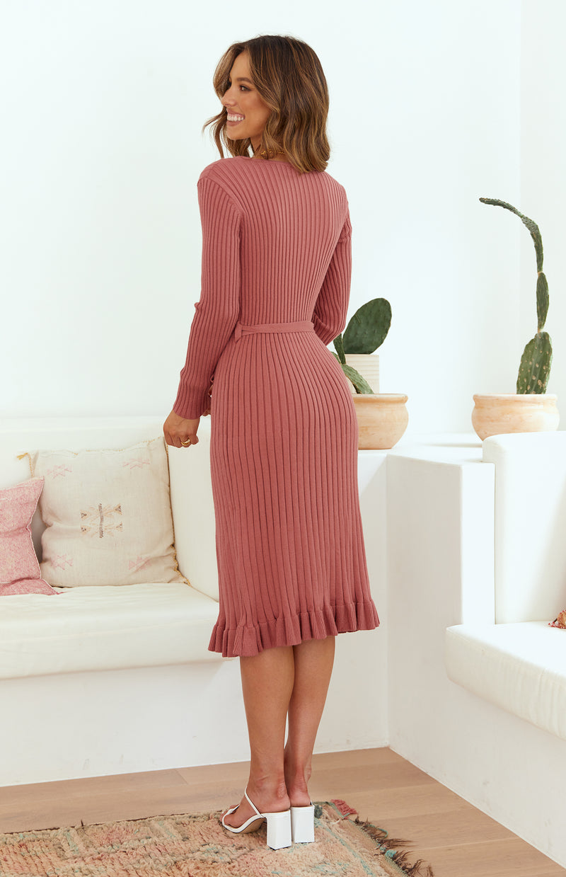 FEELS MIDI DRESS - ROSE