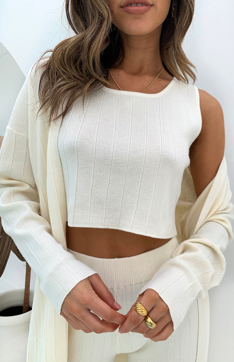 ROUGE RIBBED TOP - CREAM