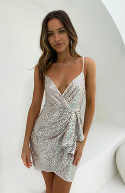 POSITANO SEQUIN DRESS - CHAMPAGNE