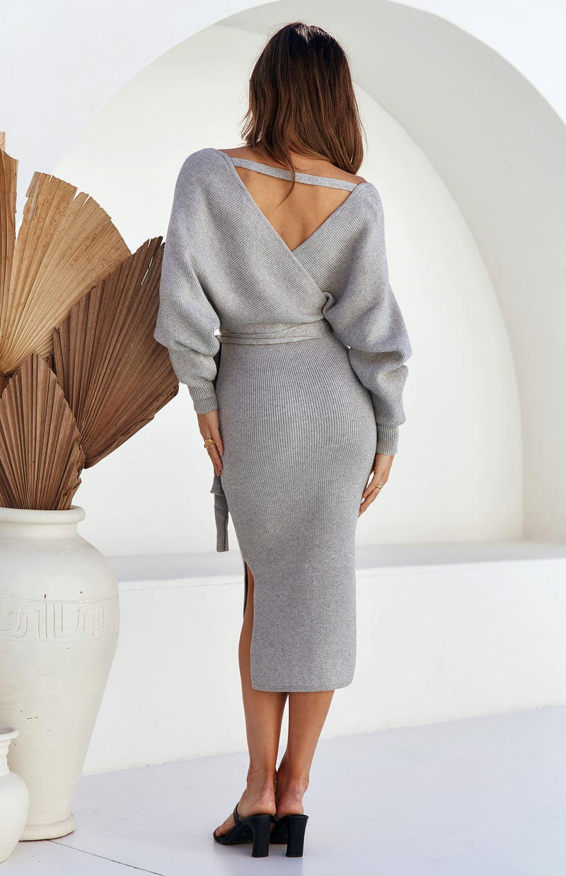 PASHA MIDI DRESS - GREY