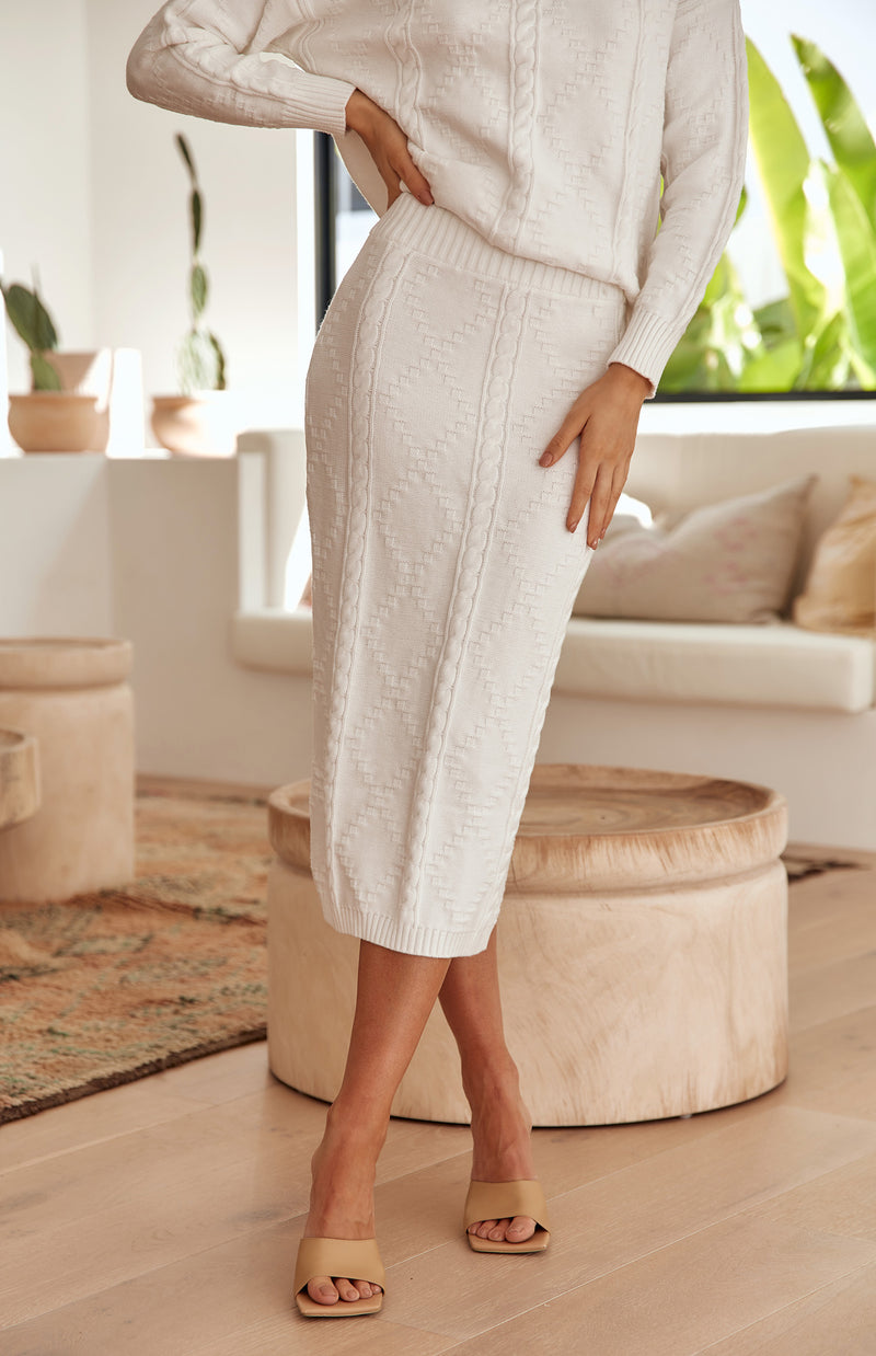 CULTURE KNIT SKIRT - IVORY