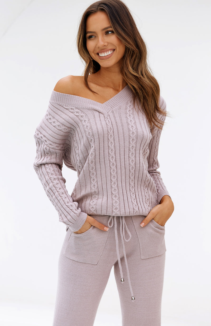 REACT KNIT TOP - MAUVE