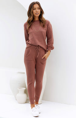 ZIZI KNIT PANTS - ROSE