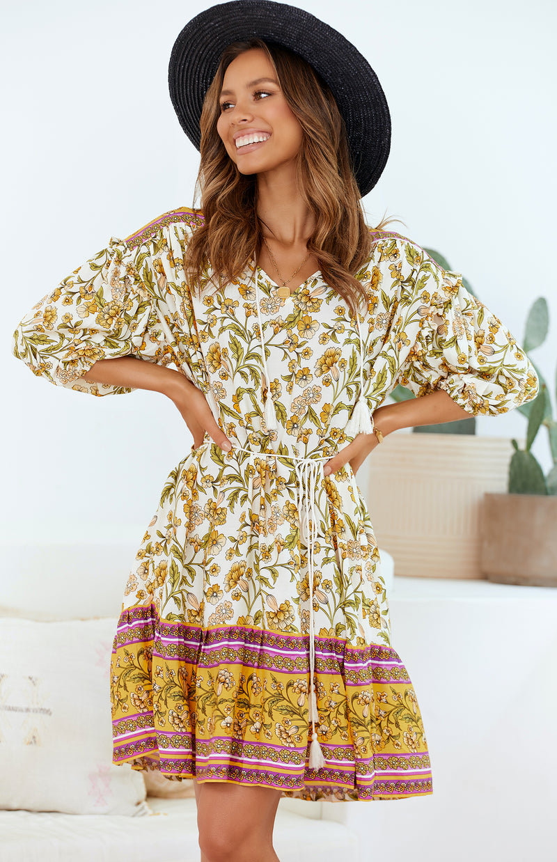 OCEANS DRESS - YELLOW PRINT