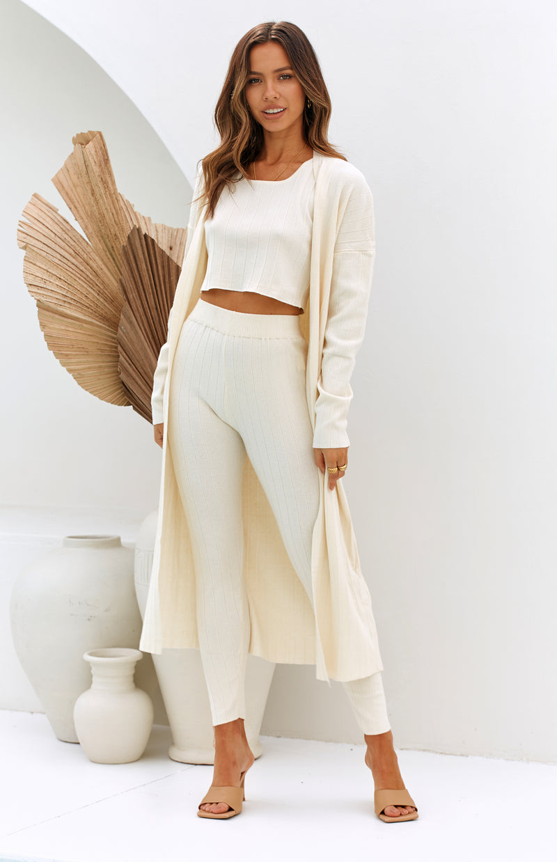 ROUGE RIBBED PANTS - CREAM