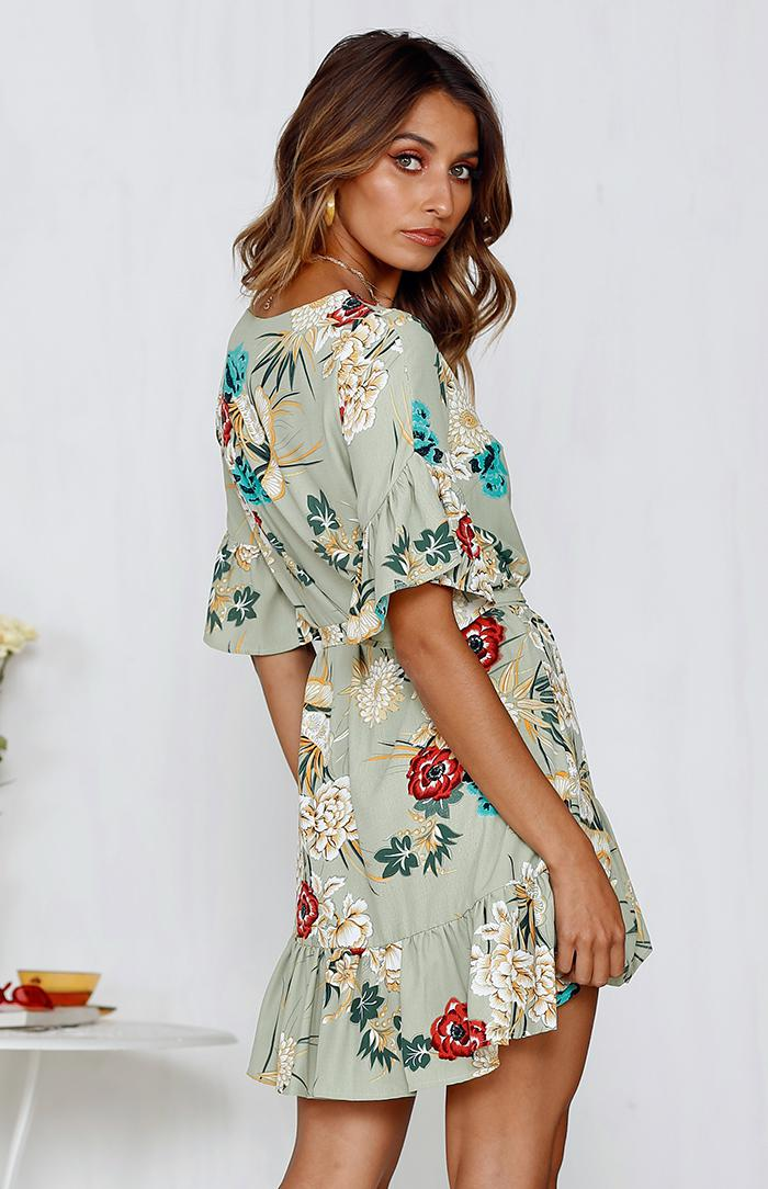 BOTANICA DRESS - GREEN PRINT