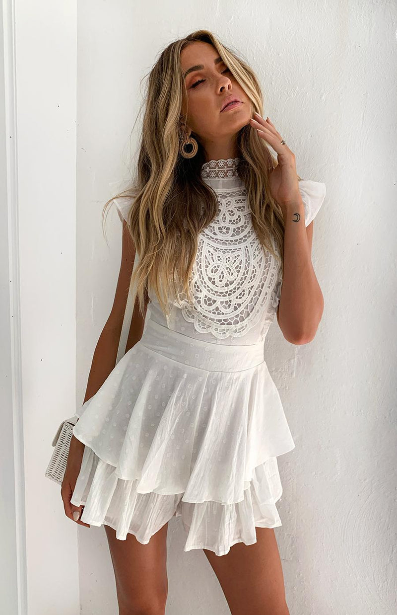 AMORITA PLAYSUIT - WHITE