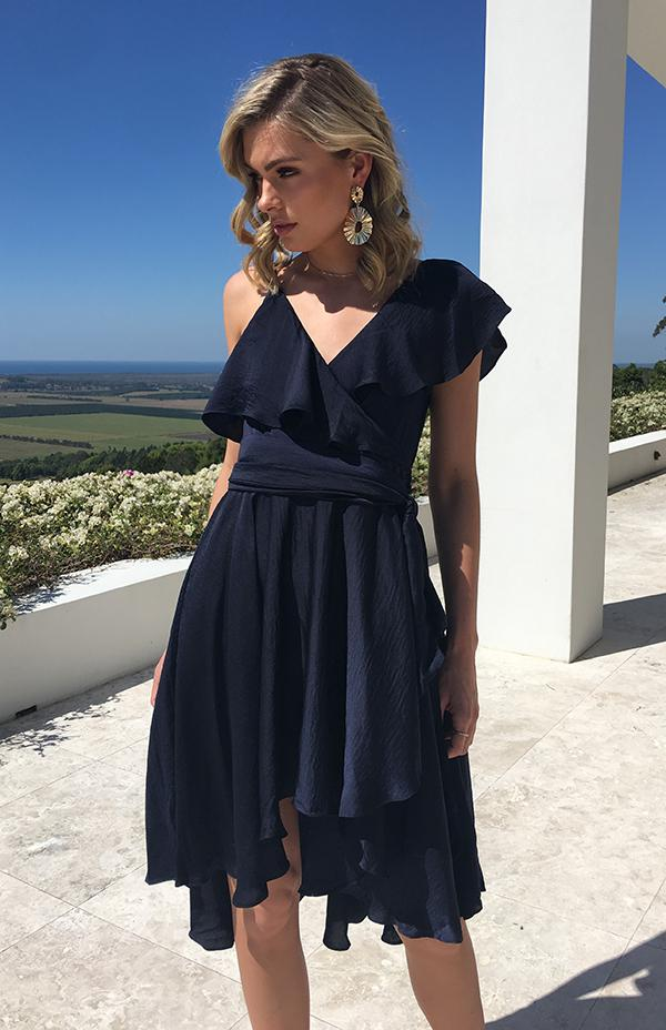 LIMA WRAP DRESS - NAVY
