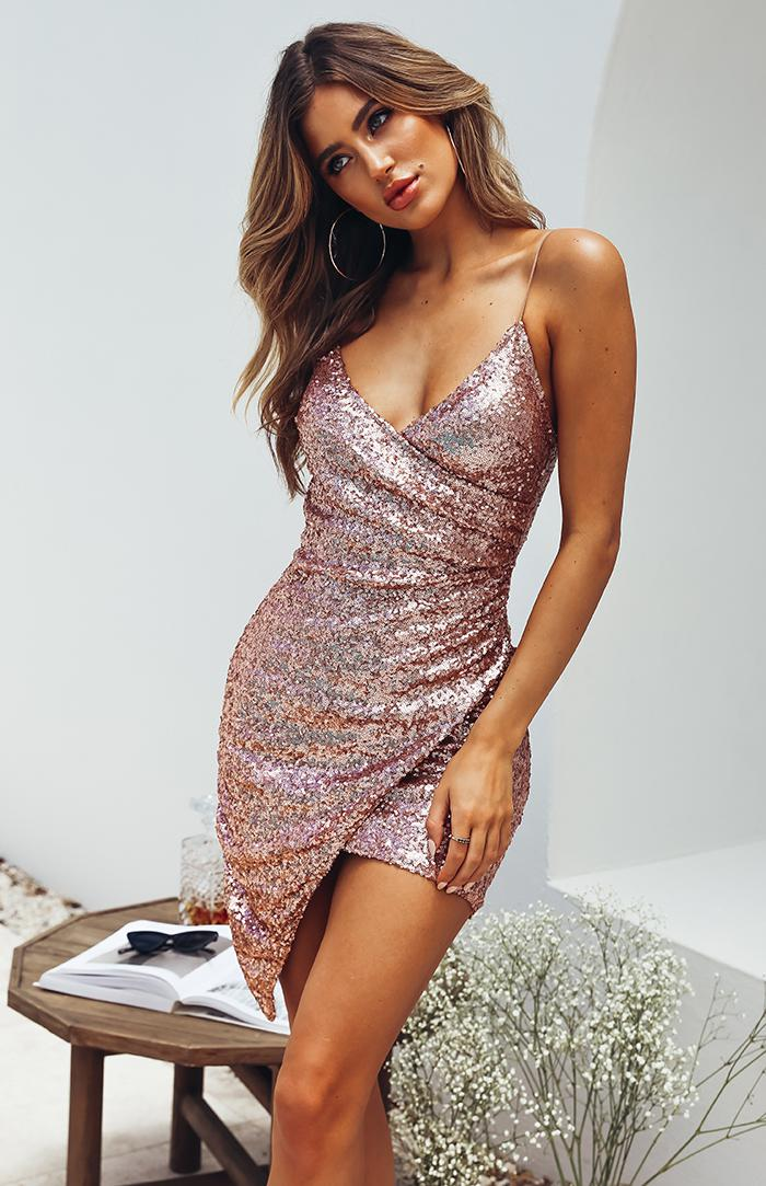NORI DRESS - ROSE GOLD SEQUIN