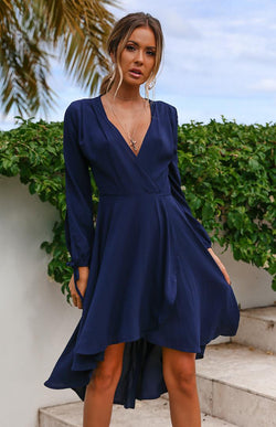 SKYLAR WRAP DRESS - NAVY