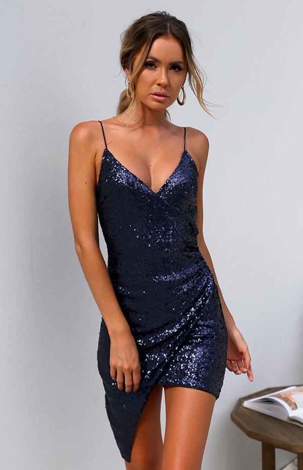 NORI DRESS - NAVY SEQUIN