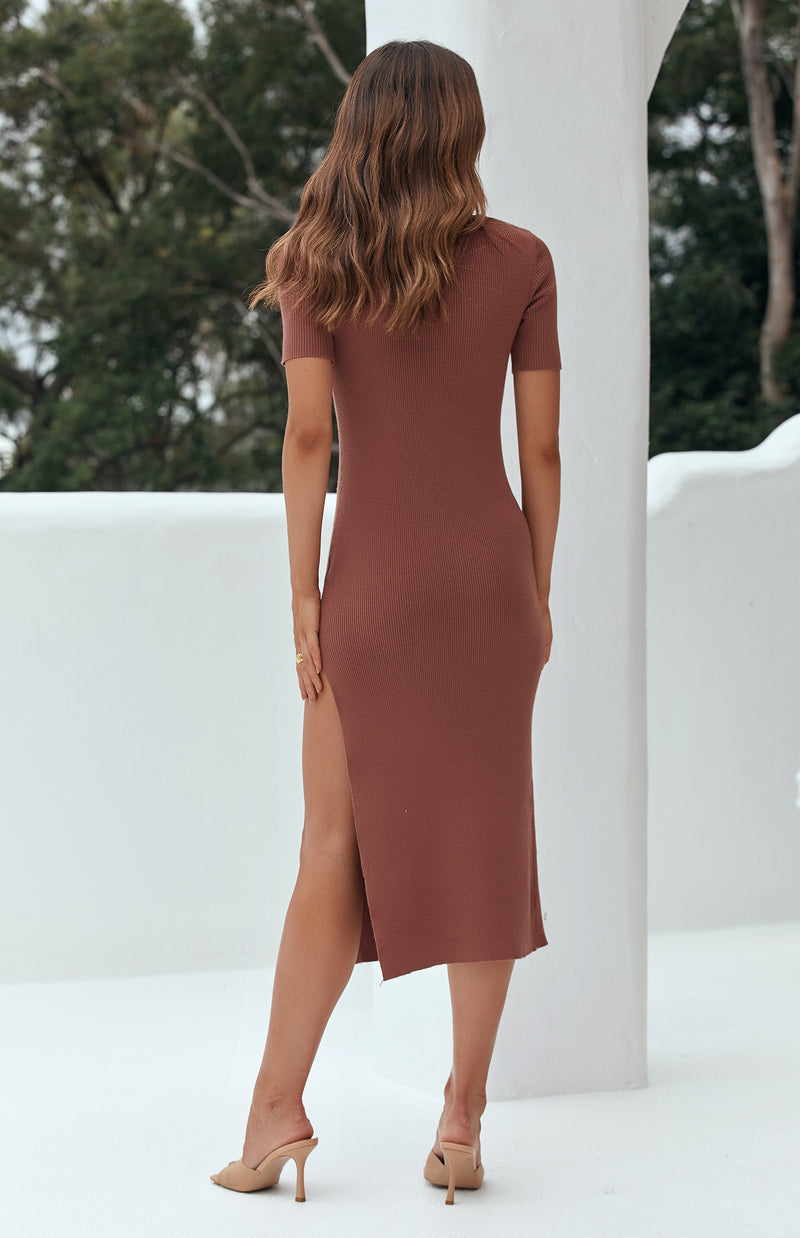 THURMA KNIT DRESS - COFFEE