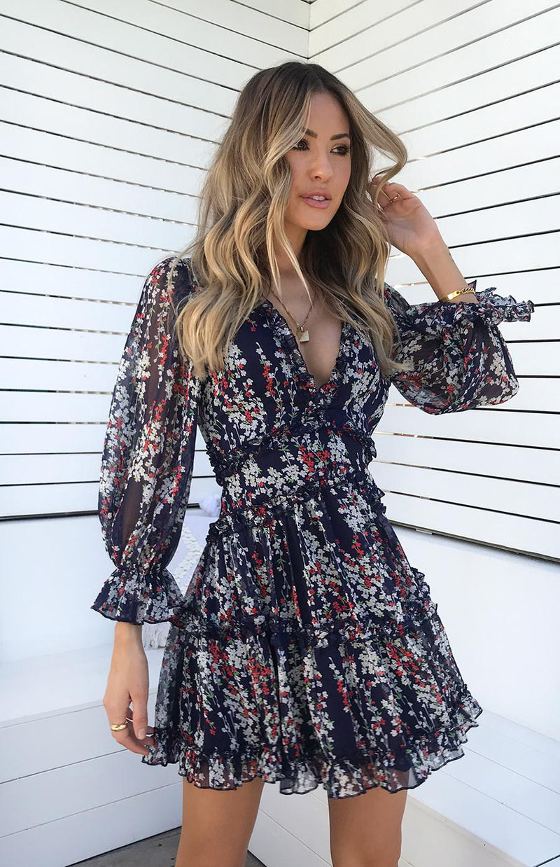 CLAUDIA DRESS - NAVY PRINT