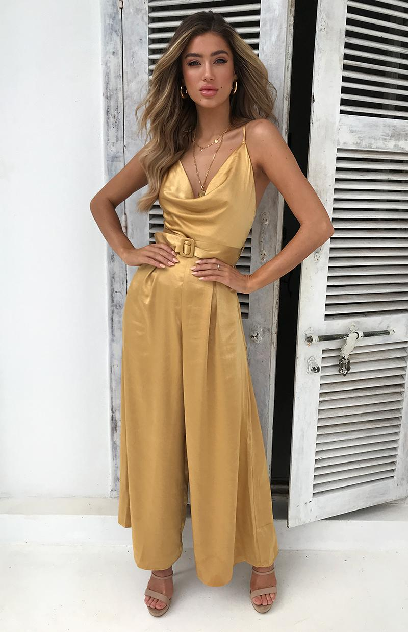 DREAMBOAT JUMPSUIT - MUSTARD