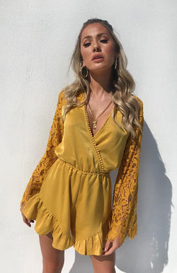 SHARNI PLAYSUIT - MUSTARD