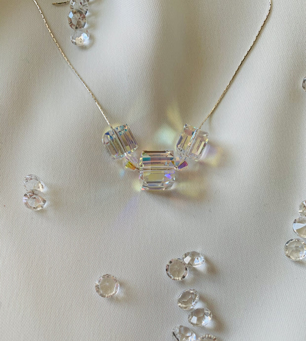 Cube Necklace with Swarovski Crystals