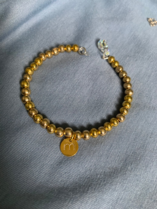 Gold Colour  Bracelet with Cross  and an Initial