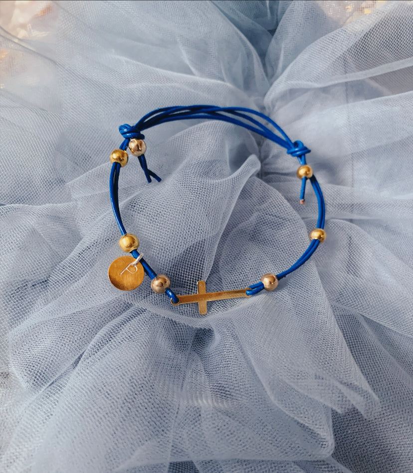 Blue Bracelet with Cross  and an Initial