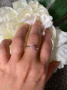 Tiny Pink Ring with Swarovski Crystals