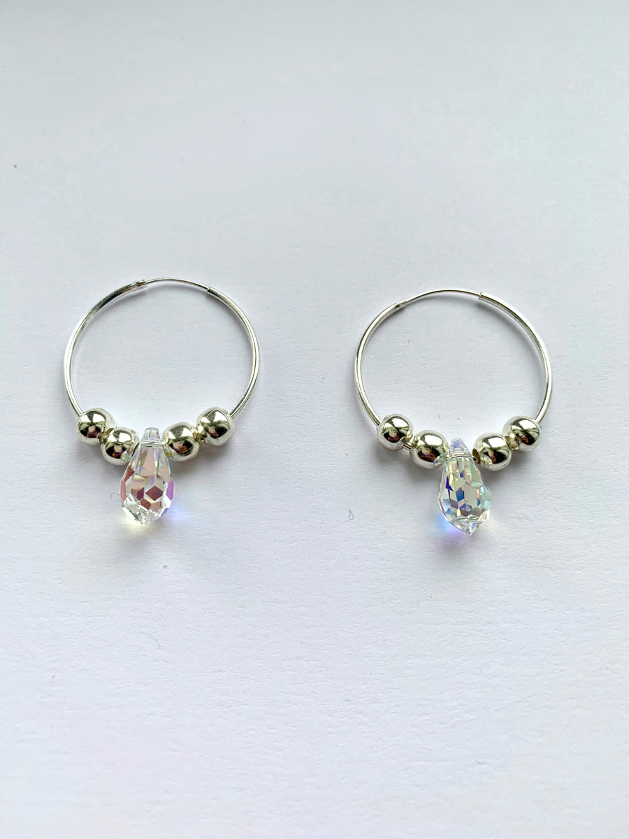 Silver 925 Hoop Earrings with Crystal AB DROP