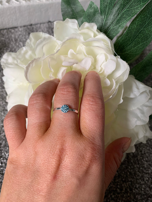 Tiny Blue Ring with Swarovski Crystals