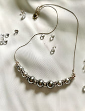 Load image into Gallery viewer, Pearl Necklace with Swarovski Crystals And Crystal Stopers