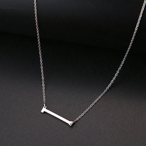 Big Letters Sideways Stainless still  Necklace