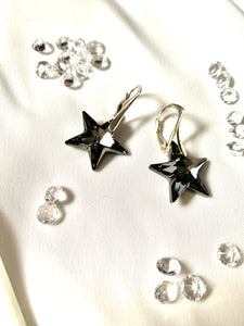 Black Grey Crystal Earrings