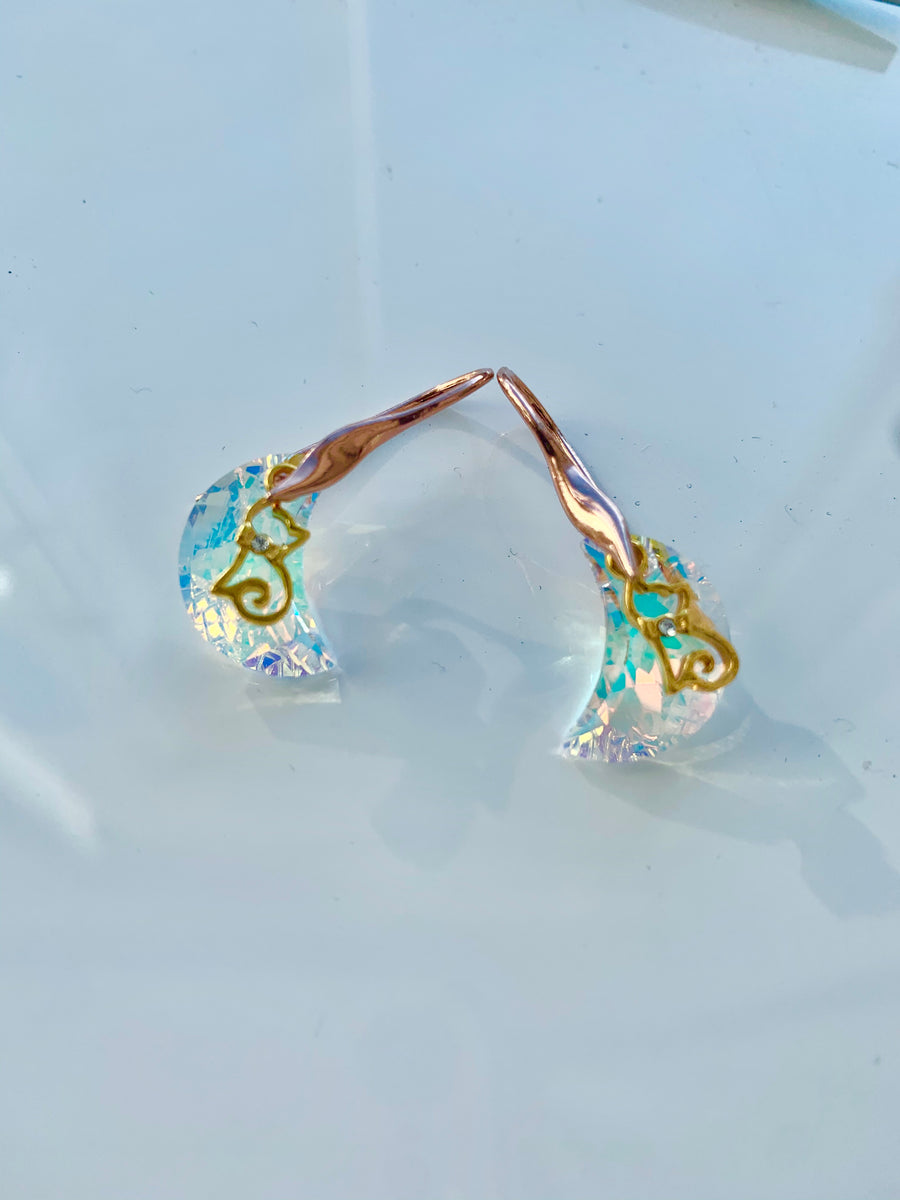24k Yellow Gold Plated Sterling Silver Aurora Borealis Crescent Moon And a Cat Earrings