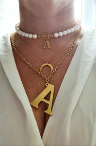 Big Letter 40mm Gold Initial Chain Necklace