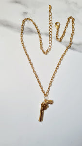 24K Yellow Gold plated Gun Necklace