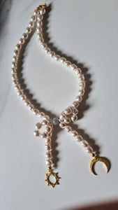 Bow White Pearl Initial Necklace (Shocker) with Swarovski Crystal Pearls 24K Gold Plated Silver