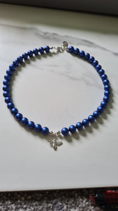 STATUS KING'S BLUE Pearl BEE Necklace (Shocker) with Swarovski Crystal Pearl Plated Silver