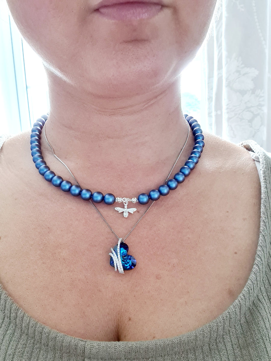 STATUS KING'S BLUE Pearl BEE Necklace (Choker) with Swarovski Crystal Pearl Plated Silver