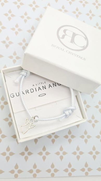 Angel Guardian Bracelets with Sterling Silver 925 Initial on a Cord