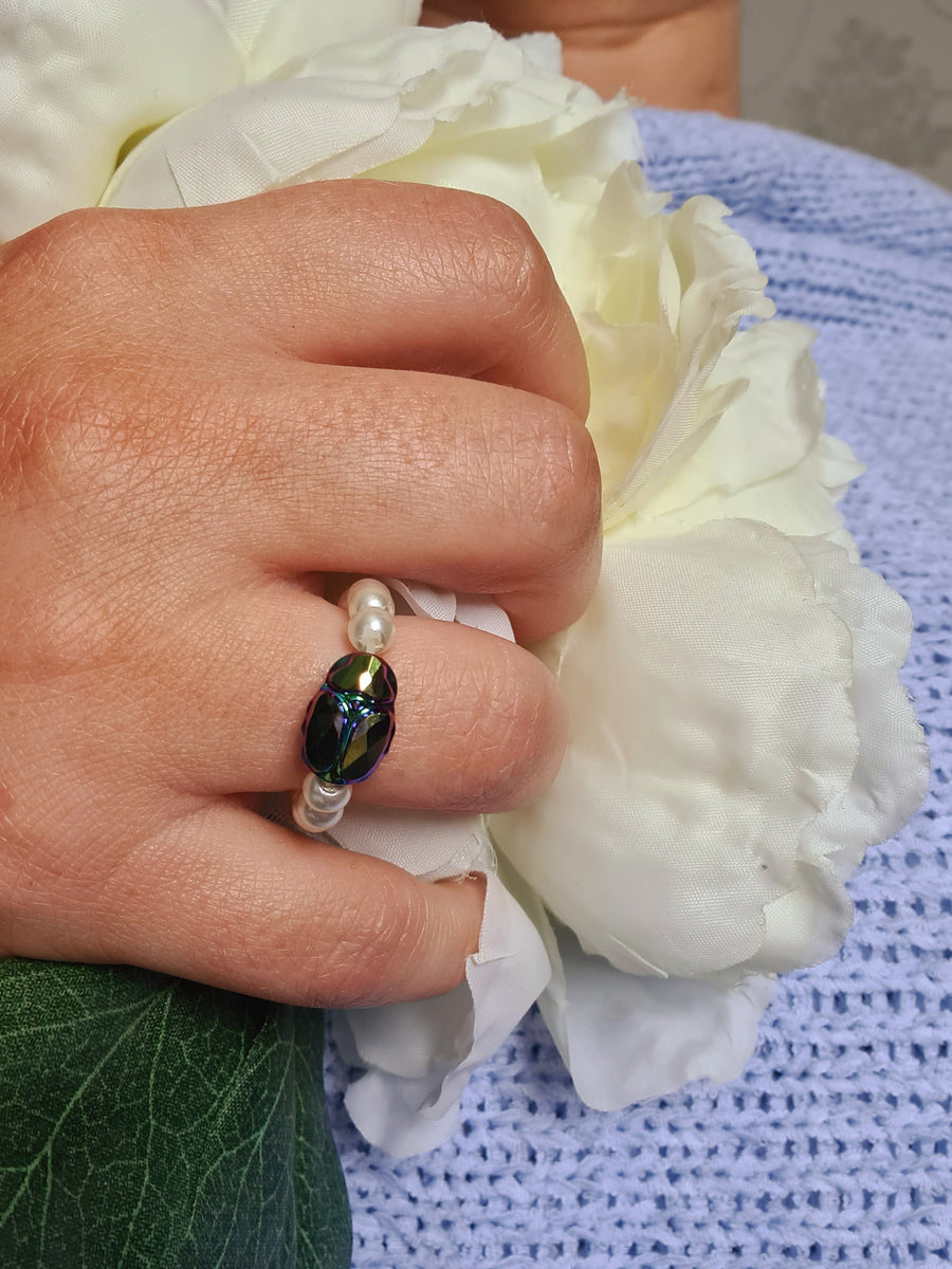 LUCKY BEADED BEETLE RING WITH SWAROVSKI CRYSTALS