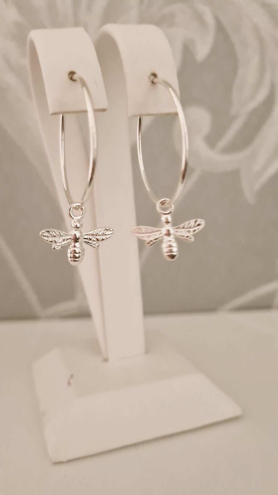 Sterling Silver Honey Bee Hoop Earrings