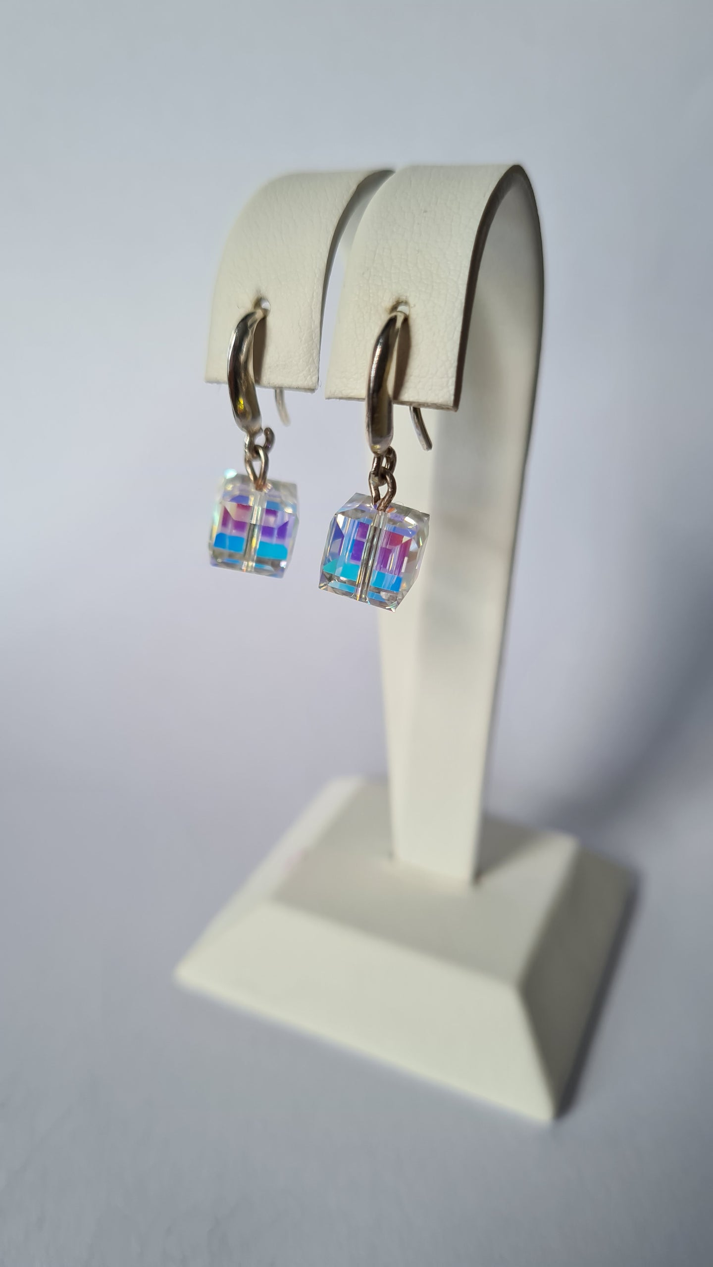 One Cube Dangle Earrings with Swarovski Crystals