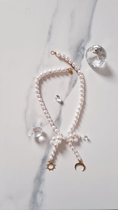 Bow White Pearl Initial Necklace (Choker) with Swarovski Crystal Pearls 24K Gold Plated Silver