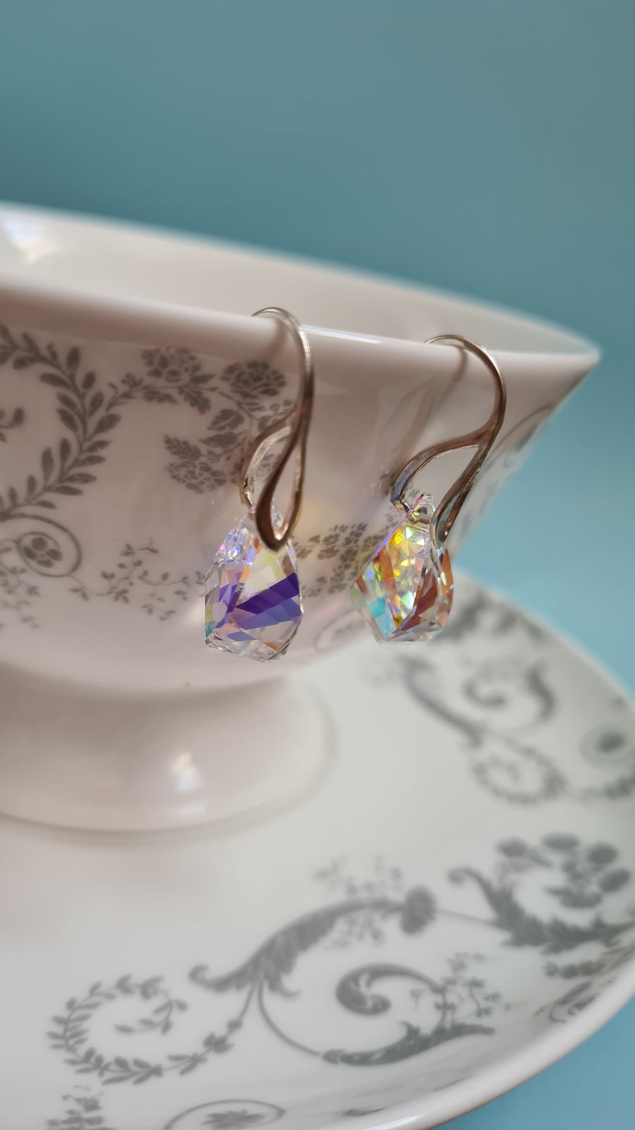 Aurora Borealis Water Drop Hoop Earrings