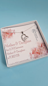 MOTHER AND DAUGHTER Heart Pendant Necklace GIFT FOR DAUGHTER