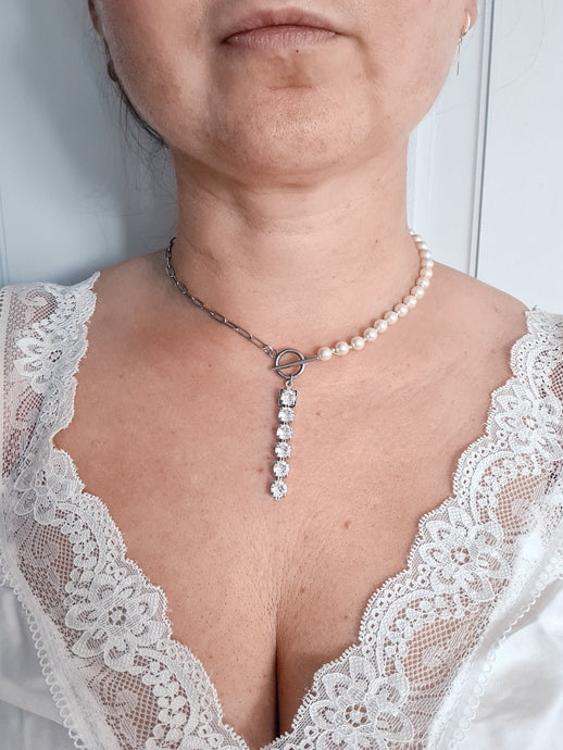 Half Half White Pearl Initial Necklace (Choker) with Swarovski Crystal Pearls and Swarovski Crystals