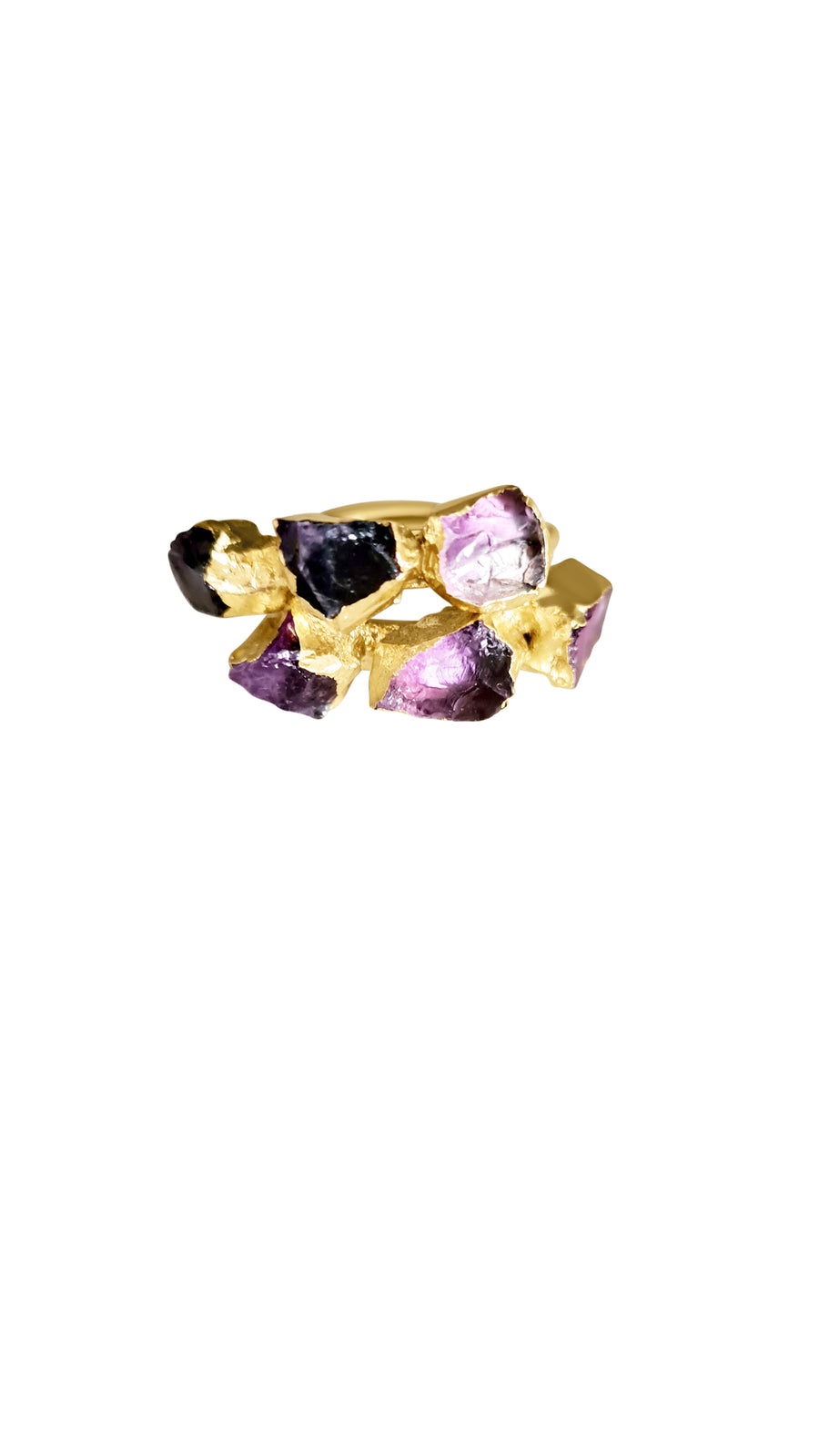 Three-Stone Raw Ombre Amethyst Ring