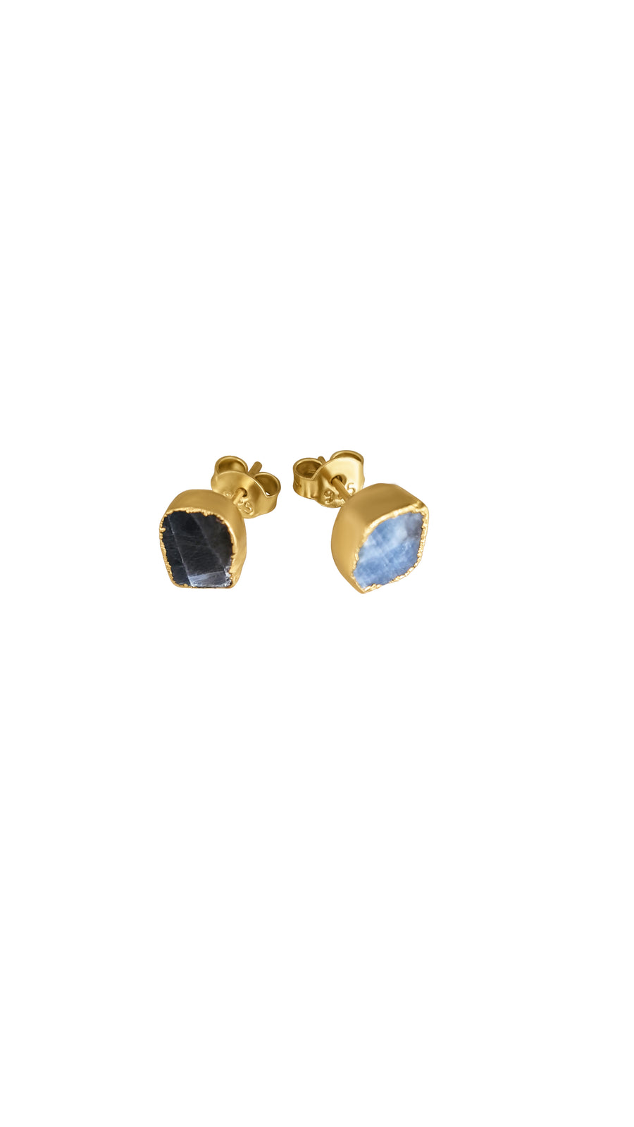 Crafted Big Raw  Sapphire Earrings