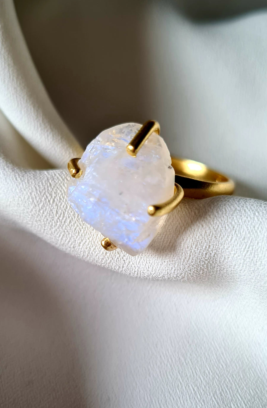 Raw  Moonstone Ring - Ava Moon Collection