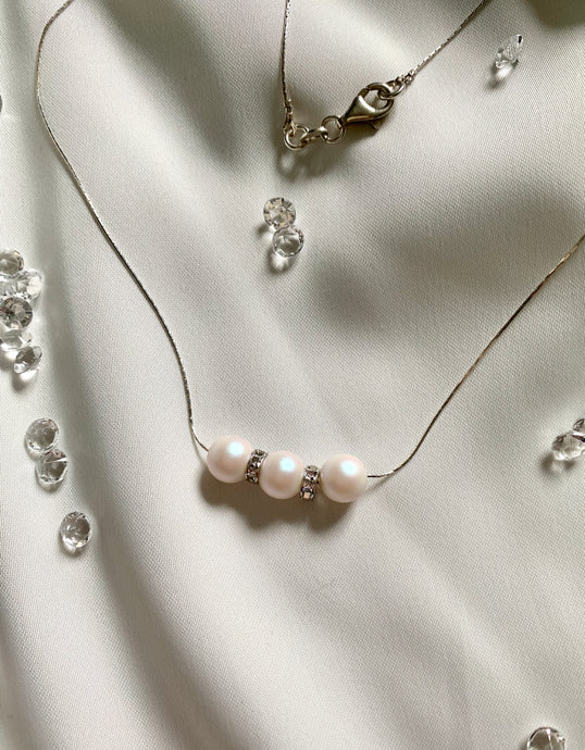3 Pearl Necklace with Swarovski Crystals And Crystal Stopers