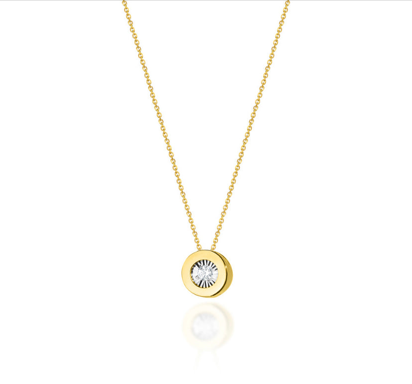 14K Gold Diamond Necklace RC0C-19 0,03CT