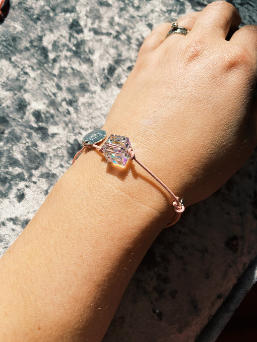 Pink Bracelet with Swarovski Cube and Initial