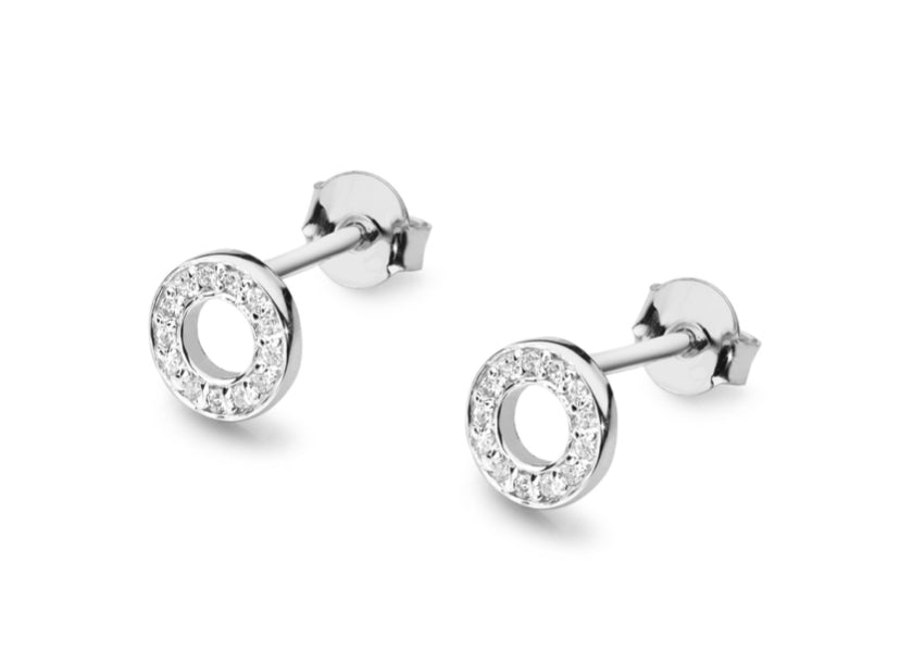 14K Gold Diamond Round Earrings RCK-14 0,13CT